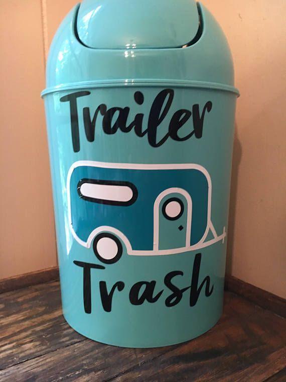 Trailer Trashcan - RV Camper Decor - Vinyl Camper Sticker - Small Trash Bin - 5 Liter Recycle Bin
