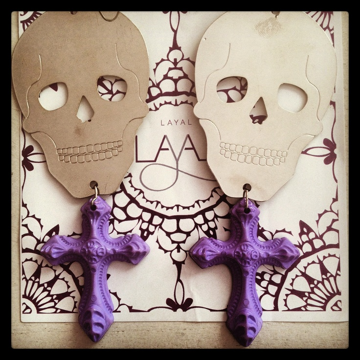 Skull cross earrings layal glyfada