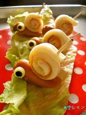 Cute little snail hors d'oeuvres. Site is in Japanese, but nice photos to give non-Japanese readers the idea.