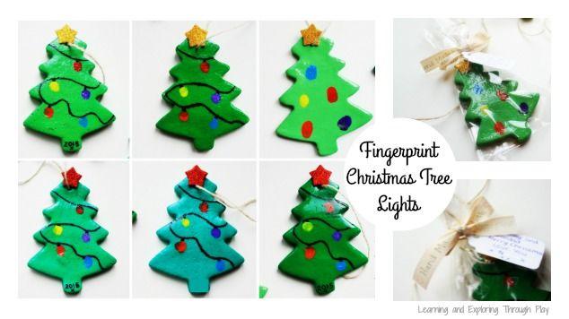 Salt Dough Fingerprint Christmas Trees