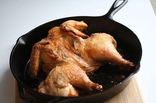 Split Roast Chicken with Lemony Artichoke Sauce | Steamy Kitchen Recipes