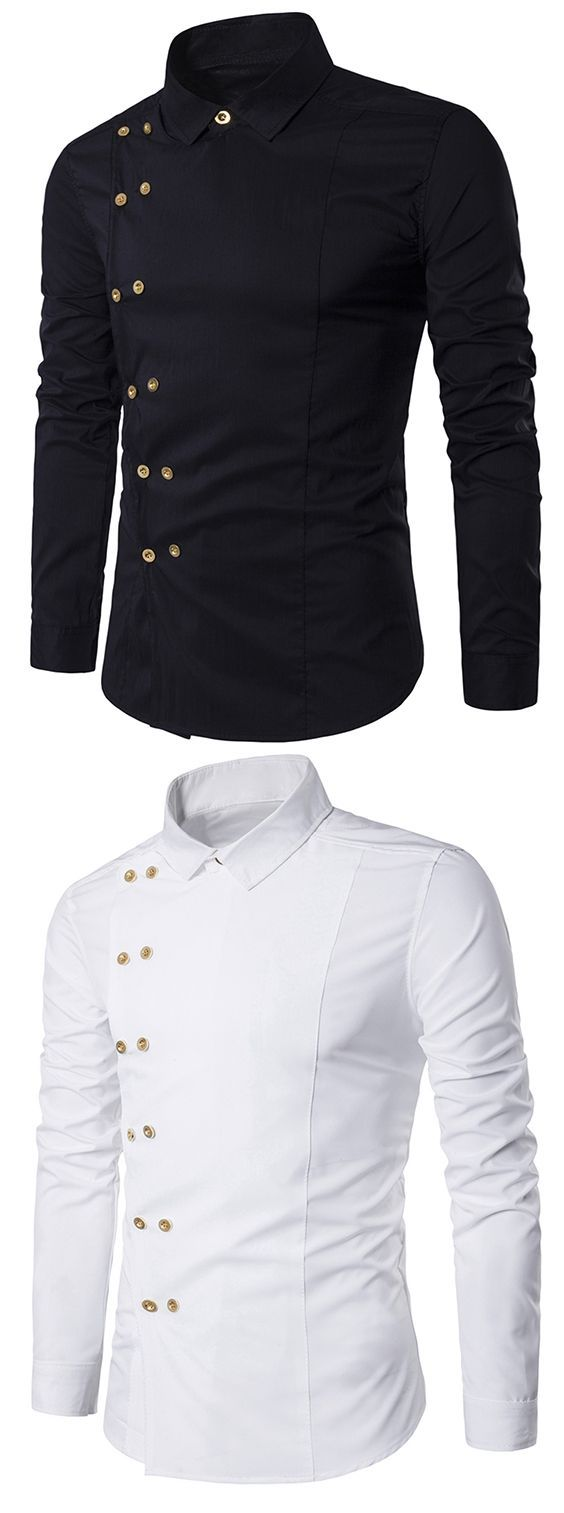 Men's fashion:Turndown Collar Long Sleeve Double Breasted Shirt