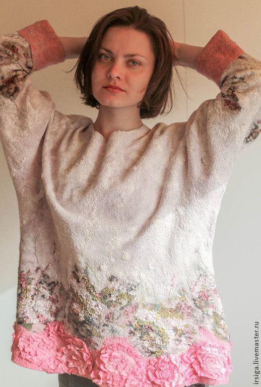 """Купить Свитер валяный """"Королевский шиповник"""" - цветочный, бледно-розовый, розовый свитер, свитер розовый"""
