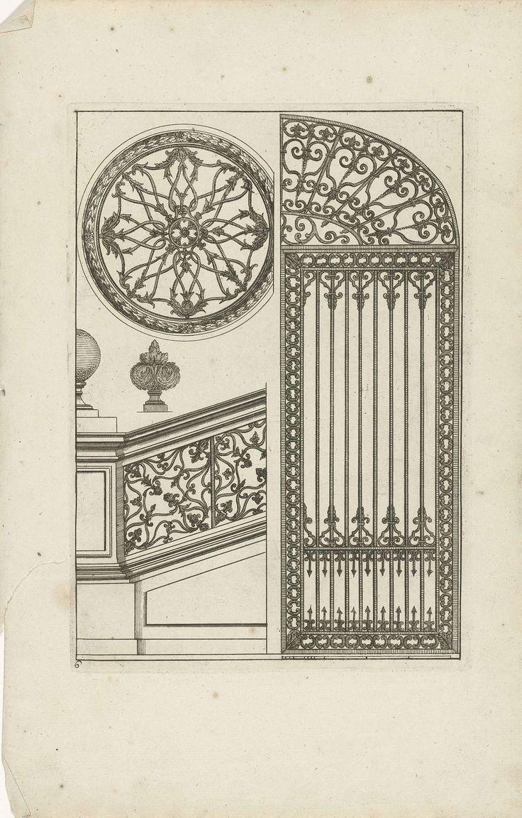 Hek, trapleuning en twee ornamenten, Jean Lepautre, Anonymous, Reinier Ottens (I), 1726 - 1750