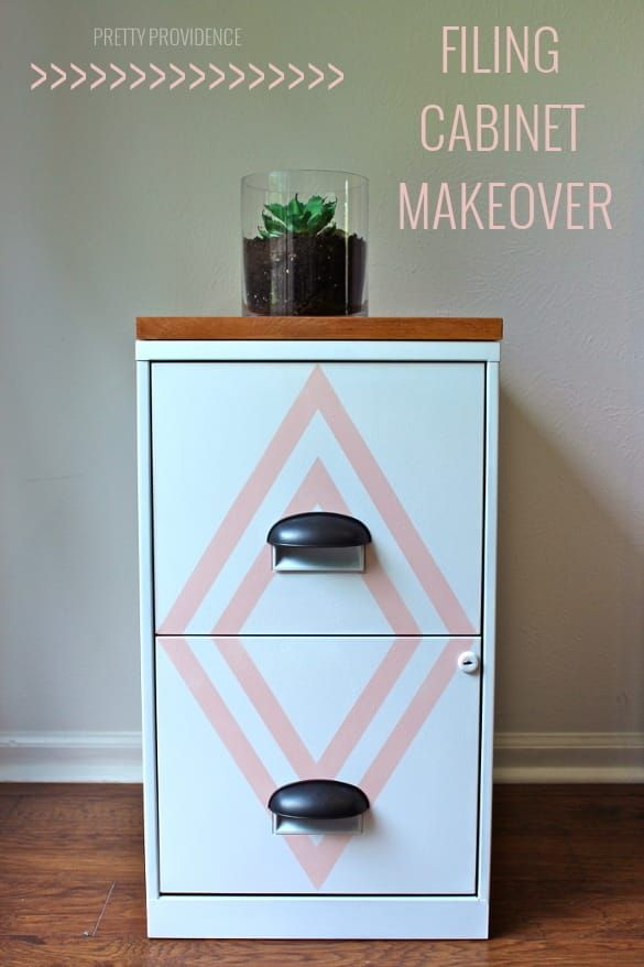 Filing cabinet makeover with some paint and wood