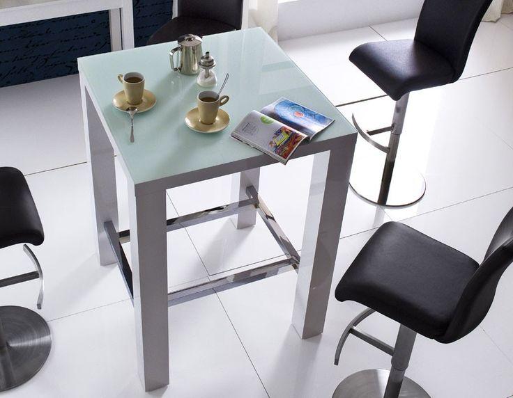 table haute blanc laqué design avec plateau en verre pova | table