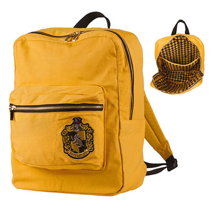 Universal Studios Harry Potter Crest Hufflepuff Backpack Hufflepuff backpack in house color featuring front crest appliqué and patterned interior lining with repeating house icon from The Wizarding Wo