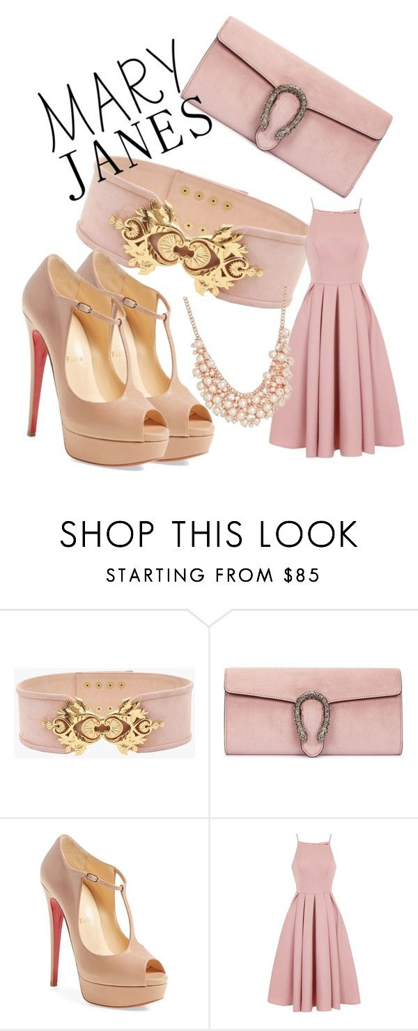 """Jane in Pink"" by laura-yanez-1 ❤ liked on Polyvore featuring Balmain, Gucci, Christian Louboutin, Chi Chi and Charter Club"