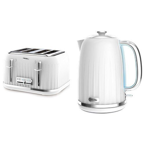 Breville Impressions 4 Slice Toaster, White and Kettle, 1.7 L, White Bundle