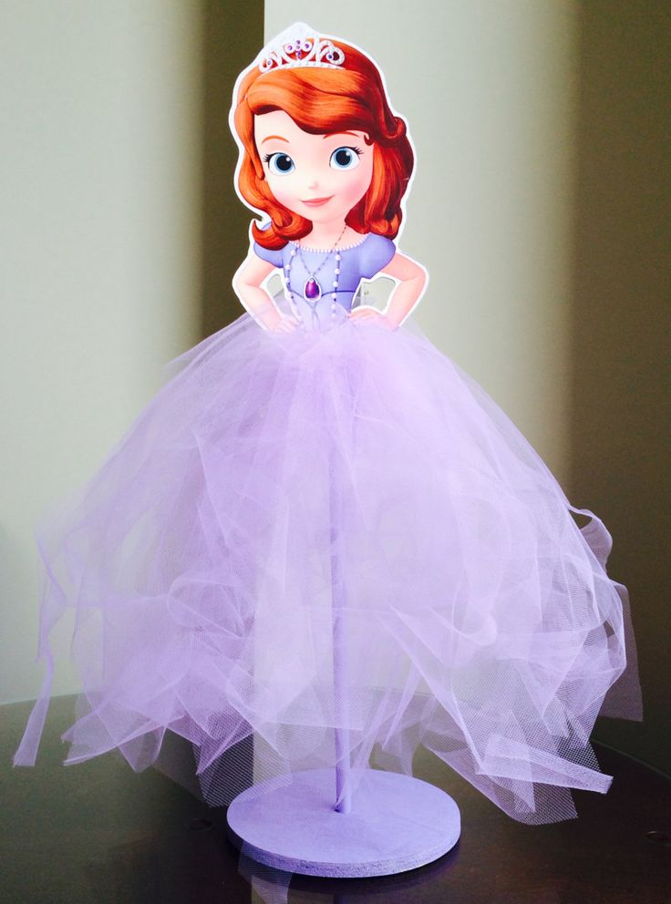 Sofia the First Wood Centerpiece with Tutu for Birthday Party, Cake Table, Guest Table, Decoration, Party Favor Box, Home Decor by MarieRoseDecorations on Etsy https://www.etsy.com/listing/186526774/sofia-the-first-wood-centerpiece-with