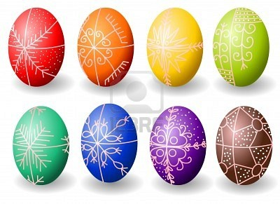 Simple Hungarian Easter eggs with traditional motifs.  These are created with a method of batik (wax resist).