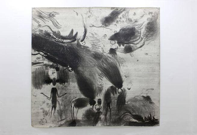 Miriam Cahn L.I.S. strategische orte; mit den kindern und tieren (eisprungarbeit), 30.05.1985 chalk on paper 275 x 280 cm