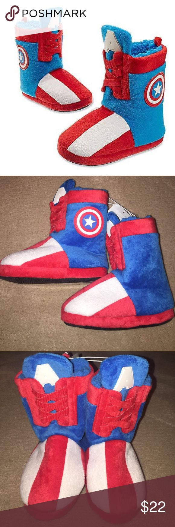 Captain America Boot Slippers Suitable for boys or girls. New with tags. Disney Marvel Boot Slippers.  Great addition to your Captain America Halloween Costume or as a gift. Child size 9/10. Disney Shoes Slippers