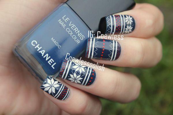 Jolly Holydays #3 – Blue Fair Isle nails (inspired by Iwearsin Leggings!)