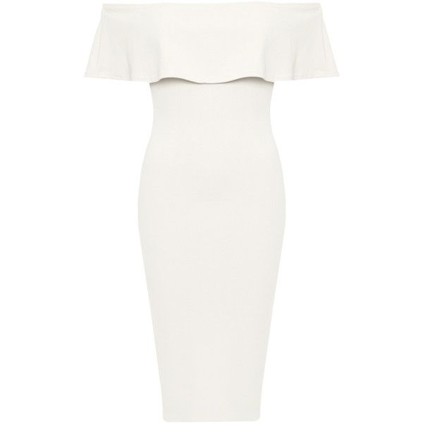 WearAll Off Shoulder Crepe Frill Bodycon Dress (73 BRL) ❤ liked on Polyvore featuring dresses, bodycon dress, cream, white peplum dress, white body con dress, white ruffle dress, off the shoulder ruffle dress and bodycon cocktail dresses