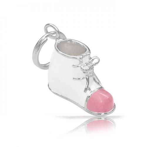 Bling Jewelry Baby Bootie White Enamel Pink Baby Shoe Pendant 925 Silver