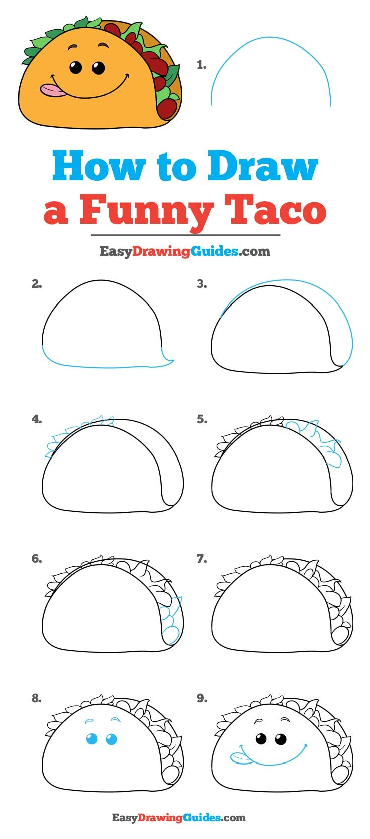 how to draw a funny taco drawing easy drawings funny easy funny step by step diagram [ 736 x 1667 Pixel ]