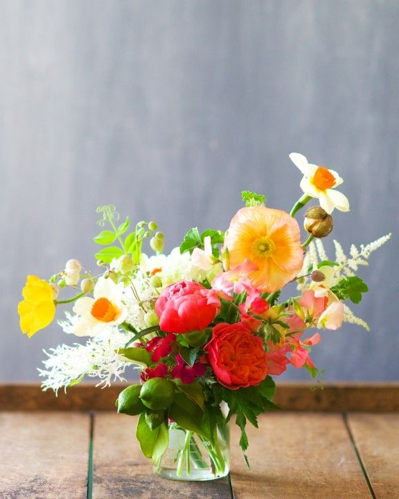 pretty posy with poppies, limes and roses