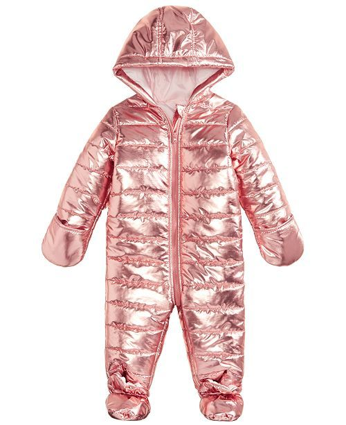 338dcd084 Baby Girls Metallic Puffer Snowsuit, Created for Macy's | Baby girl clothes  | Snow suit, Baby snowsuit, Baby girl snowsuit