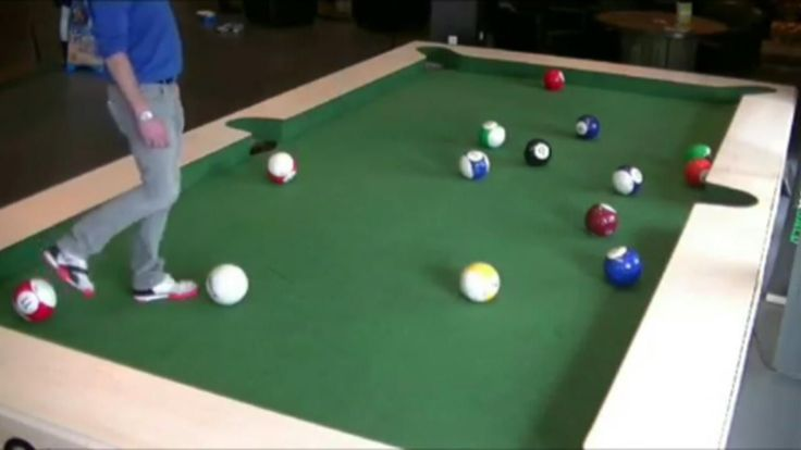 A new sport has been made to combine the game of pool with the skills of soccer and is played on top of a pool table.