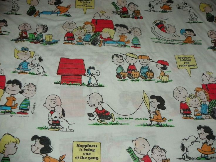 Bettwäsche Donald Duck Vintage 1971 Peanuts Gang Snoopy Twin Flat Bed Sheet 64 X