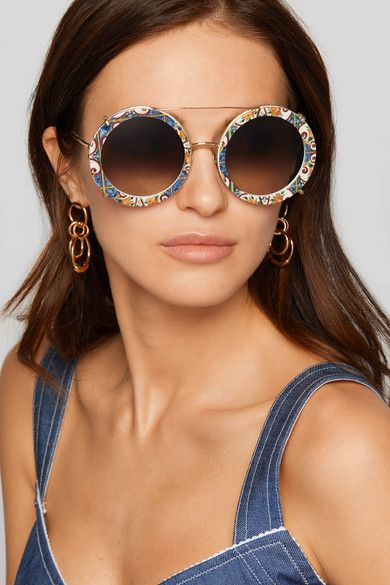 24ca3d39def6 Dolce   Gabbana - Round-frame Printed Acetate And Gold-tone Convertible  Sunglasses