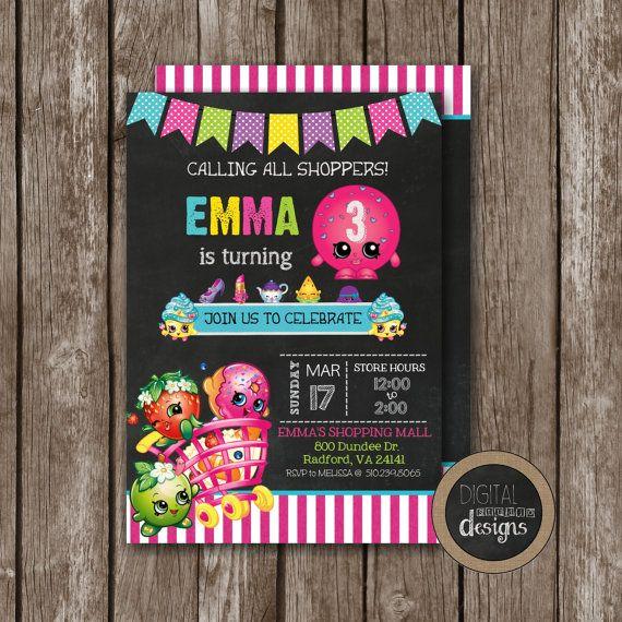 shopkins birthday party invitation custom