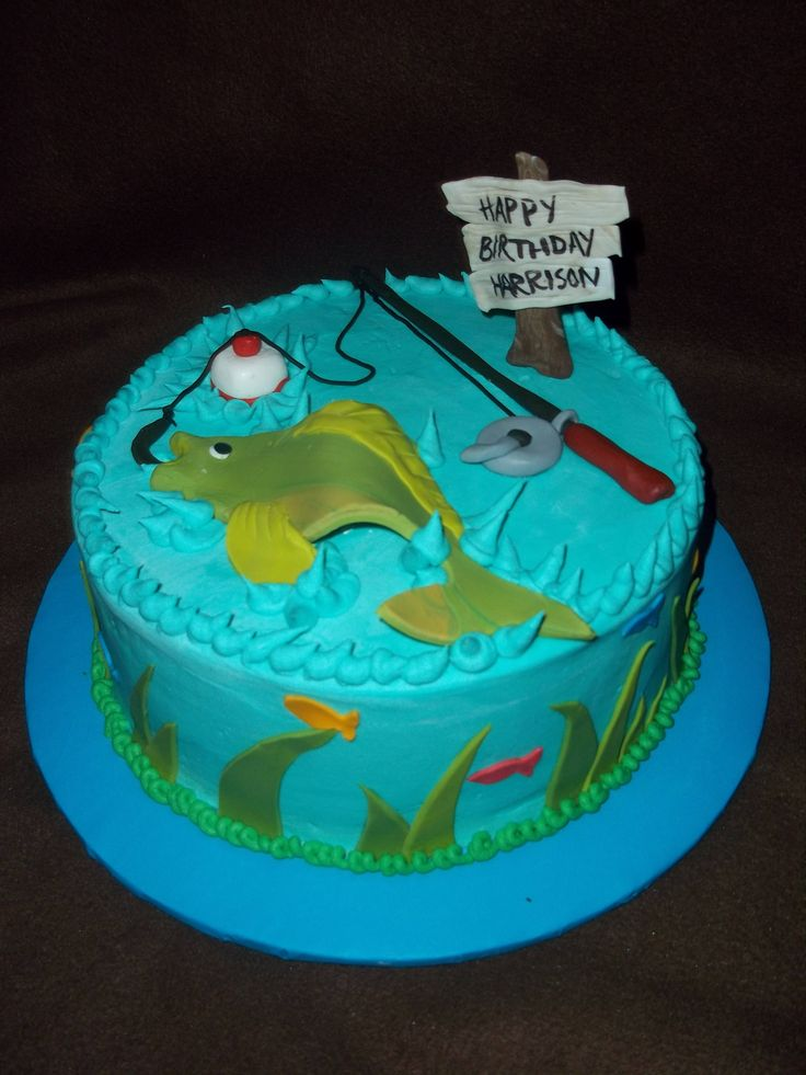 Fishing Birthday Cake for this year. Wondering if I could make this an icecream cake..