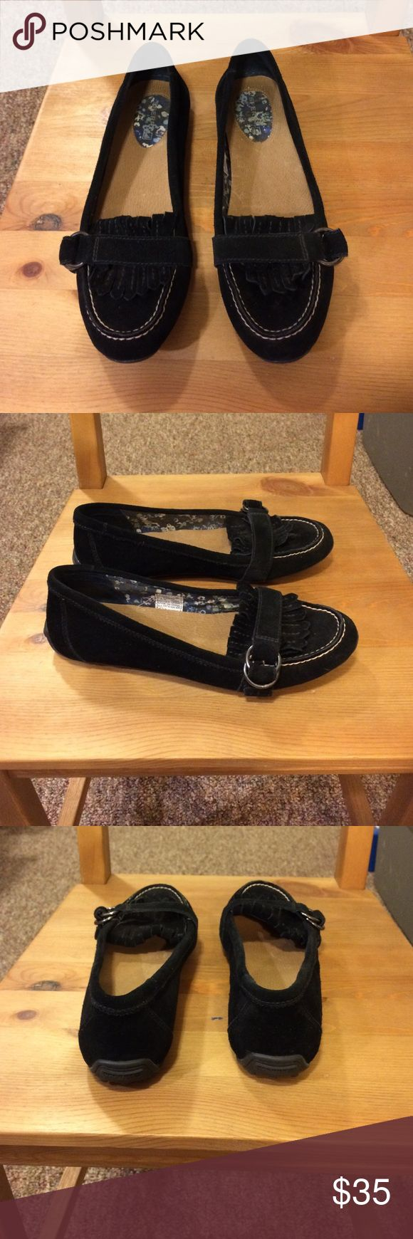 Black Sperry loafers Adorable black Sperrys leather with silver buckles worn once perfect condition Sperry Shoes Flats & Loafers
