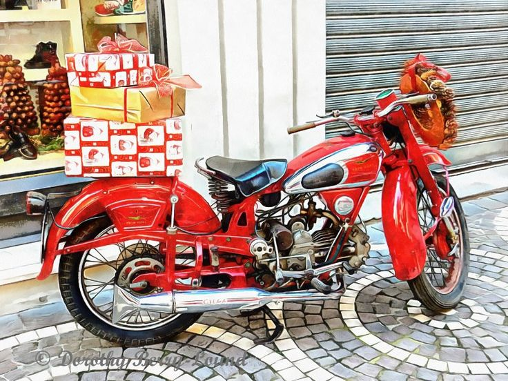 Christmas Classic Wheels. Click on the picture to read the blog #christmasdecor #christmasgifts #classicmotorcyles