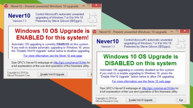 Microsoft really, really wants you to upgrade to Windows 10, but if you're a happy Windows 7 or 8.1 user, you shouldn't be forced to upgrade. Never10 gives you control over whether Windows will upgrade itself.