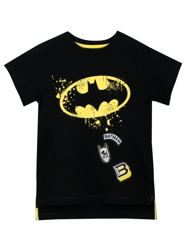 Shop this awesome DC Comics short sleeve top featuring the Batman logo and his mask. Perfect for young fans of the Dark Knight himself. Available in sizes 3 to 13 Years.