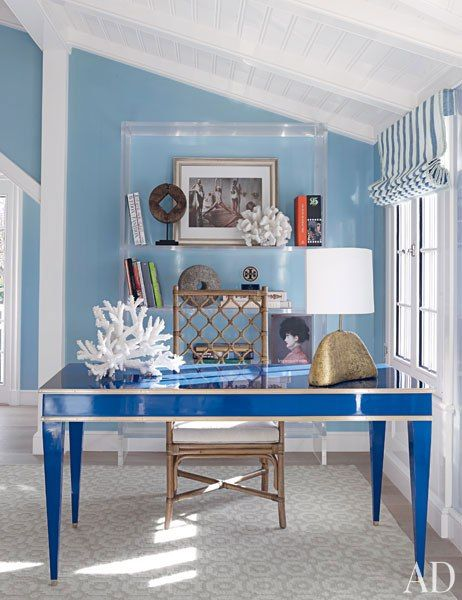 C. Wonder Founder J. Christopher Burch's Spirited Hamptons Beach House - The desk in the master bedroom is based on a vintage Jansen model; the lamp is from Gerald Bland, the chair is from Mecox, and the photograph is by Deborah Turbeville.