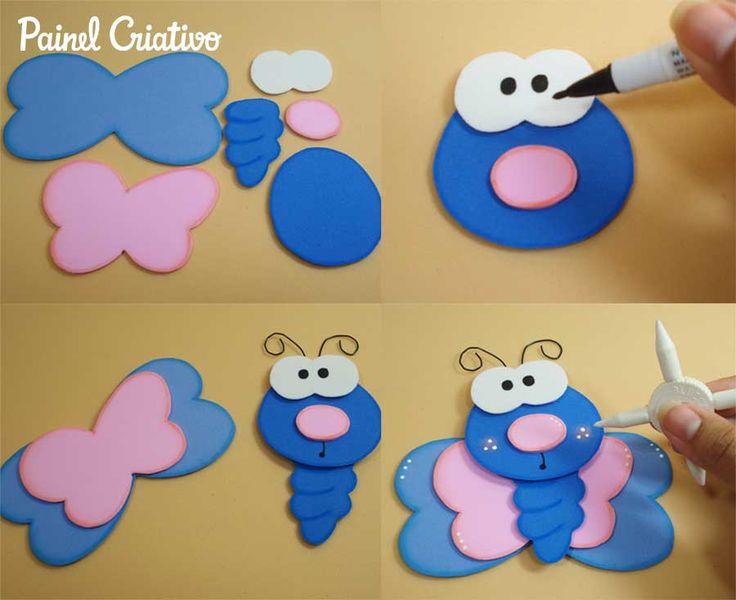 porta lapis reciclado latinha borboletinha EVA 6