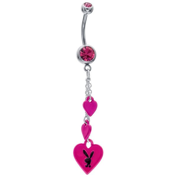 Rose Pink CZ Hearts Licensed Playboy Bunny Dangle Belly Ring (26 AUD) ❤ liked on Polyvore featuring jewelry, belly rings, piercings, cz jewelry, cz jewellery, pink jewelry, bunny rabbit jewelry and cubic zirconia jewelry