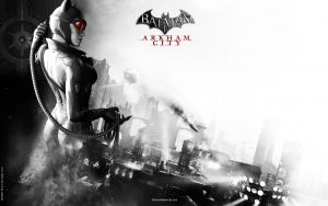Preview wallpaper batman arkham city, catwoman, game, name, girl, city, black and white