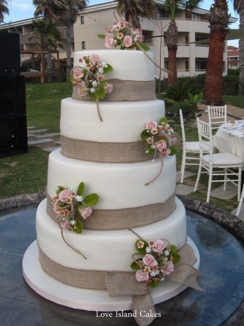 wedding cakes with burlap ribbon | Wedding Cakes | Love Island Cakes