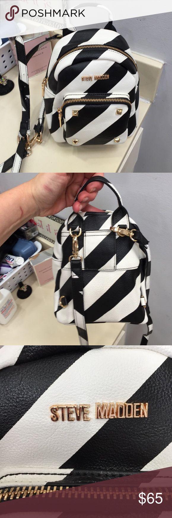 Steve Madden Striped Backpack Purse Brand new without tags. Steve Madden Black & White Striped Backpack Purse. Gold Hardware. Adorable Steve Madden Bags Backpacks
