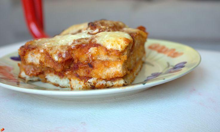 Lasagne con pane e minestrone avanzati