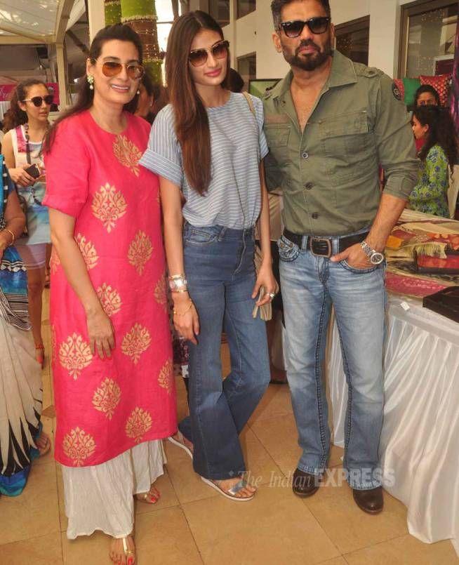 Athiya Shetty with Suniel Shetty and Mana Shetty at Araaish fundraising event. #Bollywood #Fashion #Style #Beauty #Handsome #Family