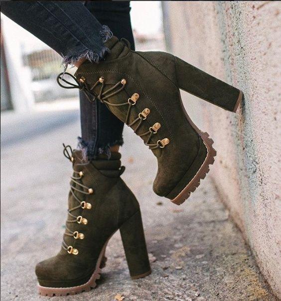 Damas Moda Damas Zapatos de tacón alto Vintage Mujeres Botas cortas Botines de mujer de alta calidad Botines de mujer de tacón alto   – Fersenschuhe