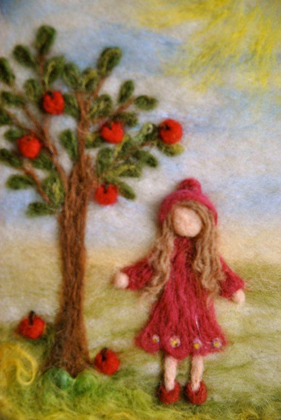 September ~ Apples & Stars ~ Needle Felted Fairy Wool ~ Girl with Apple Tree