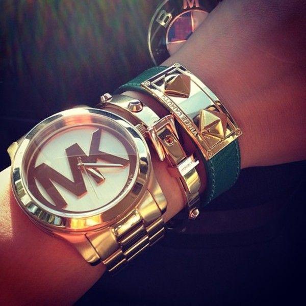 Jewels: michael kors watch micheal kors, watch, rose gold bracelets gold bracelets emerald green