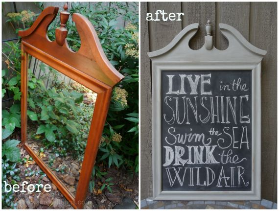 before and after mirror to chalkboard pleasure in simple things