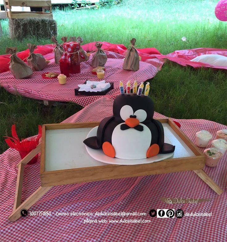 Nuestra deliciosa torta de frutos rojos y chocolate blanco disfrazada de pingüino disfrutando de este picnic