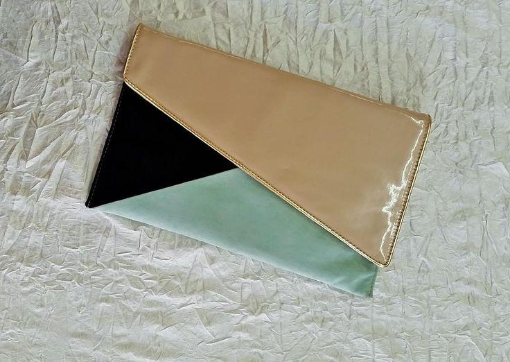 Multi Colored Envelope Clutch - Latte Patent, Black & Mint Faux Suede, Betts Australia