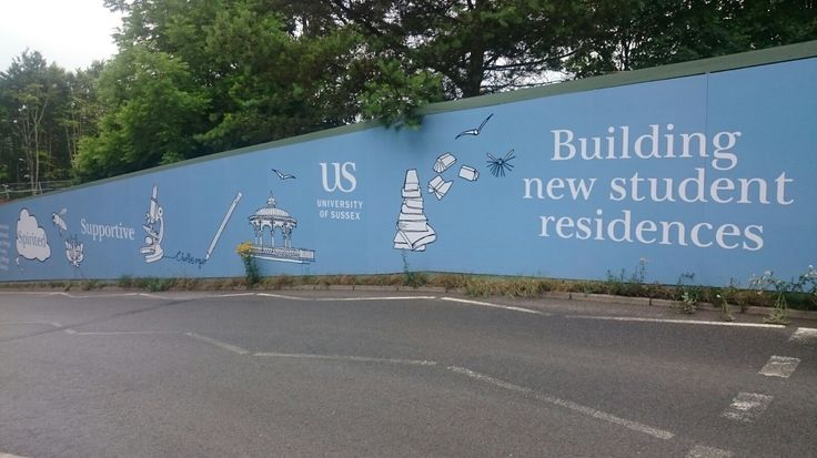 Full colour digitally printed vinyl hoarding boards produced and installed by The Sussex Sign Company