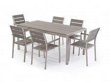 Aluminium and Poly Wood Outdoor Dining Set with 6 Chairs - VERNIO Grey