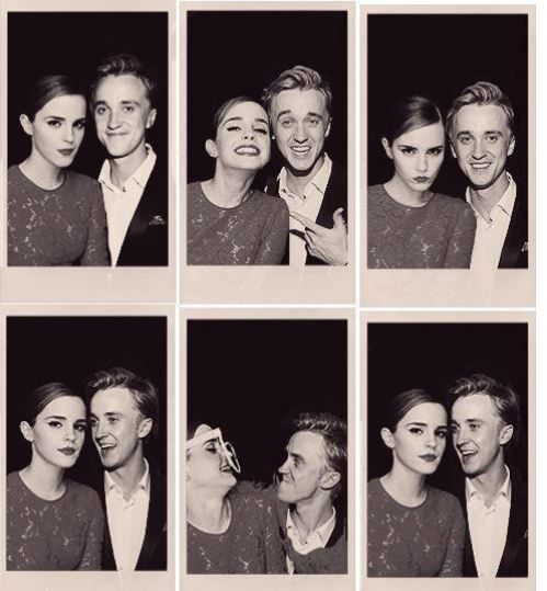 Emma and Tom -- never thought we'd see Draco and Hermione in a picture together without her slugging him.