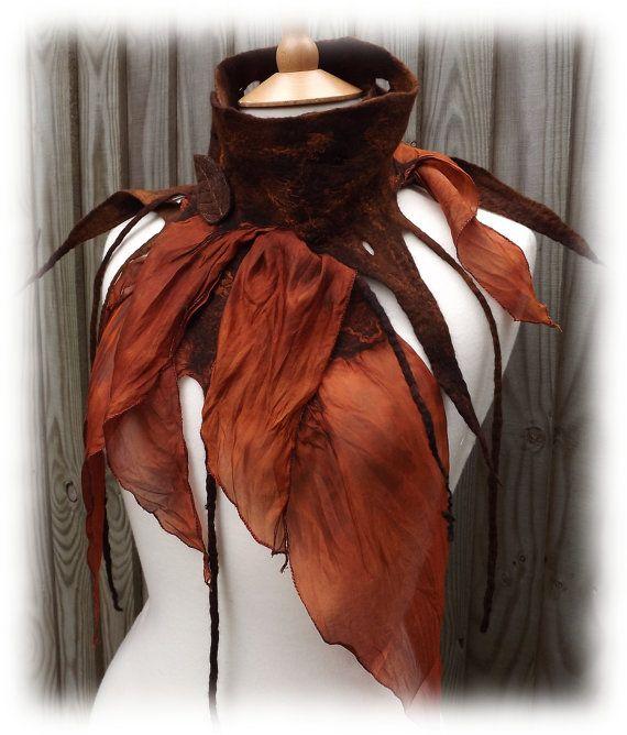 Woodland zerfetzten Schal  Nuno-Filz-Wrap  Gürtel-Schal von folkowl